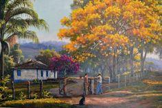 """""""Paisagem com Fazenda"""" de Wilson Vicente Painting Lessons, Painting & Drawing, Watercolor Landscape, Landscape Paintings, Puerto Rico Pictures, South American Art, Painting People, Still Life Art, Autumn Art"""