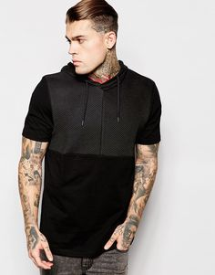 Image 1 of ASOS T-Shirt With Hood And Rib Cut And Sew Detail In Relaxed Skater Fit