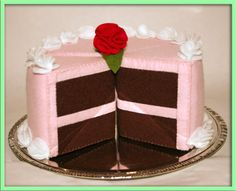 Wool Felt Play Food  Chocolate Cake Slice with Pink by EvaLauryn, $35.00