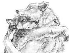 2008 anthro black_and_white blotch canine claws crying duo eyes_closed fur greyscale hug male mammal monochrome pawprint side_view simple_background tears white_background wolf Furry Wolf, Furry Art, Demon Wolf, Werewolf Art, Big Bad Wolf, Anime Wolf, Anthro Furry, Kindred Spirits, Mythological Creatures