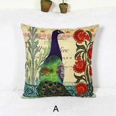 Peacock decorative pillows for couch colorful animal print pillows