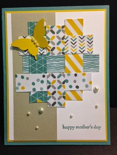 Teeny Tiny Wishes,Mother's Day Card, Weaving Technique Card, Stampin' Up!, Rubber Stamping, Handmade Card