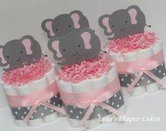 Conjunto de tortas de pañales Mini de 3 elefante por AllDiaperCakes