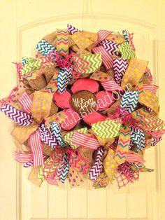 Burlap welcome wreath www.facebook.com/wreathstoadoor