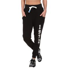 adidas Originals Super Logo Essential Baggy French Terry Track Pant... ($50) ❤ liked on Polyvore featuring activewear, activewear pants, black, vintage sportswear, adidas originals, track pants and logo sportswear