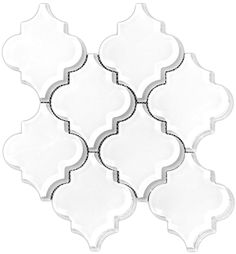 $17.95/sf Glass Arabesque Brilliant White 8mm Premium Mosaic Tile. This is a real white glass tile, no green tint, made from Virgin white glass.