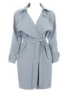 Blue-gray Lapel Waisted Trench Coat With Belt from choies.com .Free shipping