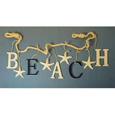 "Nautical Interior Decoration / Word "" Beach"" Garland: Would love to make this! Nautical Kitchen, Nautical Home, Beach Cottage Style, Beach House Decor, Home Decor, Decor Crafts, Nautical Interior, Beach Room, Beach Bathrooms"