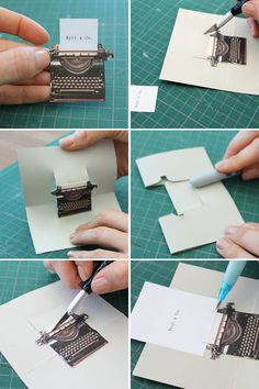 "3 cute pop up cards.. tutorial and printable ""Pop Goes the DIY Pop-Up Name Card 