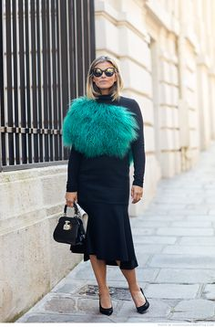 Janka Polliani wearing Sandro shoes, Sportmax skirt l, Gucci bag & Prada sunglasses #StreetStyle