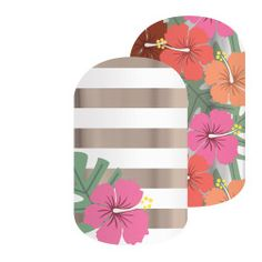 Waikiki | Jamberry | These satin finish Mixed-Mani design featuring tropical hibiscus flowers and gold and whites stripes will sweep you away to the sandy beaches of Waikiki.