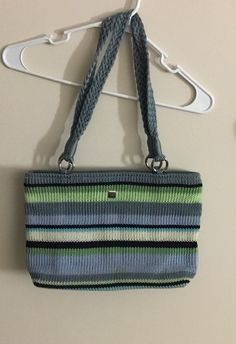 Crochet Knit Lime Green Blue White Striped Shoulder Bag Purse Handbag Lina Tote 16 95