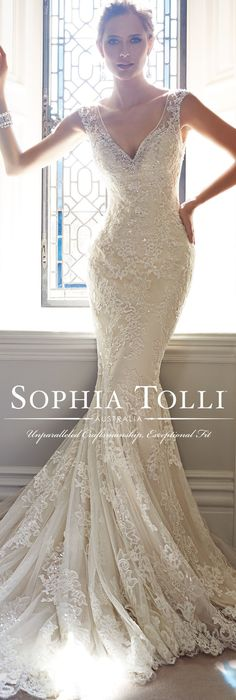 """If you are in love with lace than """"Leigh"""" Y21432 by designer Sophia Tolli is must try on at your next fitting! Find your closest authorized retailer at moncheribridals.com @moncheribridals"""