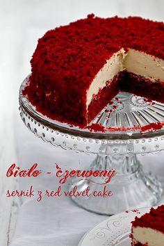 Biało - czerwony sernik z red velvet cake