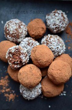 trufle z ciecierzycy, kokosowo-czekoladowe trufle, zdrowe trufle Tahini, Cookies, Chocolate, Trufle, Desserts, Food, Fitness, Crack Crackers, Tailgate Desserts