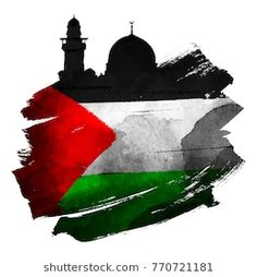 Al-Quds mosque silhouette with palestine flag on ink brush shape vector illustration Palestine Flag, Palestine Quotes, Jordan Flag, Graffiti Doodles, Palestinian Embroidery, Flag Art, Islamic Wallpaper, Flag Vector, Illustration Artists