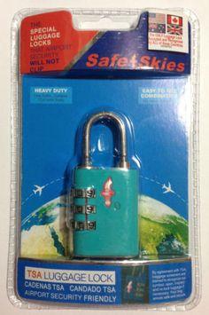 Safe Skies Aero 3 Dial Aqua Blue TSA Luggage Lock Combination Lock Resettable | eBay