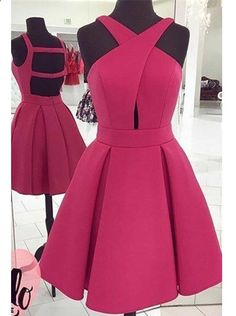 sexy homecoming dresses, backless homecoming dresses, short prom dresses, fuchsia homecoming dresses, A-line homecoming dresses, party gowns, formal dresses#SIMIBridal #homecomingdresses