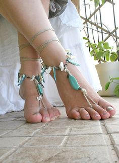 Barefoot sandles with gem stone and sea shells Bohemian by MarryG