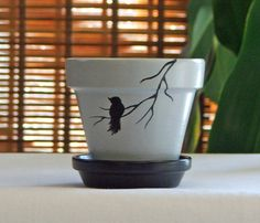 Bird on Branch Hand Painted Clay Pot.