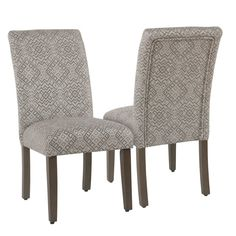 Parsons Dining Chair (Set of Cream (Ivory) and Gray Global Pattern - Homepop Parsons Dining Chairs, Mismatched Dining Chairs, Solid Wood Dining Chairs, Upholstered Dining Chairs, Dining Chair Set, Dining Room Chairs, Side Chairs, Dinning Set, Chair Upholstery