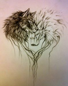 (100+) wolf tattoo | Tumblr. This captures the relationship between the two wolfs, perhaps they complete each other
