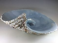 Adela Powell Ceramic vessel - texture on the outside - shiny glaze on the inside