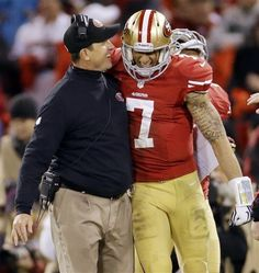 Jim Harbaugh and Colin Kaepernick celebrating victory over the Packers in the NFC Divisonal round. Jan 12th 2013.