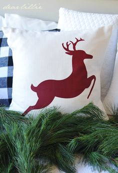 reindeer pillow: you could make this yourself.