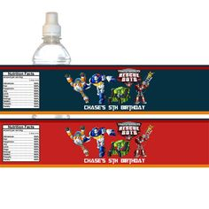 DIY Printable Rescue Bots Birthday Party Water Bottle Wrapper, Label 005