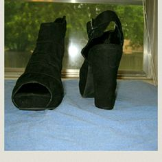 MIA 2 Platform Sandals Black suede material with a 3 1/2 inch heel.  Worn only a couple of times and very comfortable. Comes with original box. MIA Shoes Platforms