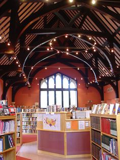 The Library at the Royal Grammar School, a private coeducational school in Worcestershire, England. The library is in the upper floor of Eld Hall, which was built in 1868 in Gothic style with a high, vaulted roof, and was refurbished in 2001.
