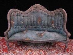 OOAK 1:12 Scale Dollhouse Miniature Spooky Haunted Worn Sofa