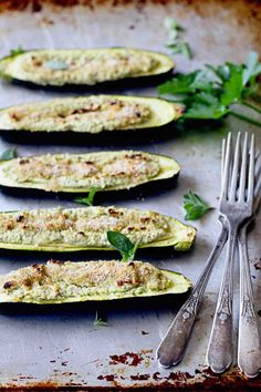 Herbed Feta Stuffed Zucchini