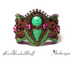 Arabesque  RESERVED Bead embroidered cuff by koolbeadedstuff, $178.00