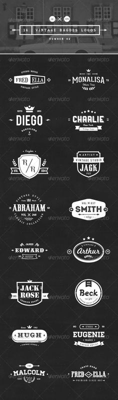 16 Vintage Badges Logos Template   Buy and Download: http://graphicriver.net/item/16-vintage-badges-logos-number-02/8354334?WT.ac=category_thumb&WT.z_author=vuuuds&ref=ksioks