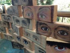 Look at me. Just a few of the drawings on 2 x 4 plywood. Mixed media.