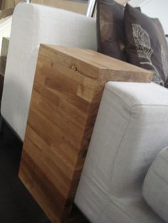 DIY couch side table for drinks.  Easy and brilliant.  Made from leftover butcher block countertop