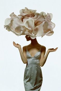 Shalom Harlow photographed by Irving Penn, from the book: Philip Treacy by Rizzoli.