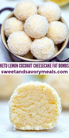 Keto Lemon Coconut Cheesecake Fat Bombs [Video] - Sweet and Savory Meals Coconut Cheesecake, Cheesecake Fat Bombs, Keto Cheesecake, Keto Fat, Low Carb Keto, Ketogenic Recipes, Keto Recipes, Coconut Recipes Low Carb, Coconut Desserts
