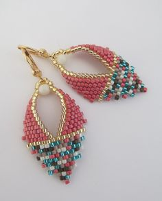 Russian Leaf Earrings - Copyright 2017 - Patti Ann McAlister - Cranberry/Mix