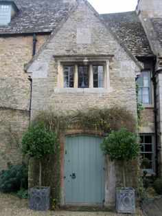 Stunning country cottage home exterior. Grey Front Doors, Building Front, Rustic Houses Exterior, Old School House, Traditional Doors, Stone Houses, Industrial House, Modern Country, My Living Room
