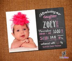 Modern Typographic Chalkboard Birth Announcement Girl Pink White Chalkboard Newborn Announcement Printable Digital File on Etsy, $11.54 CAD Birth Announcement Girl, Birth Announcements, Announcement Cards, Picture Ideas, Photo Ideas, Baby Coming, Baby Birth, Baby Cards, Baby Pictures