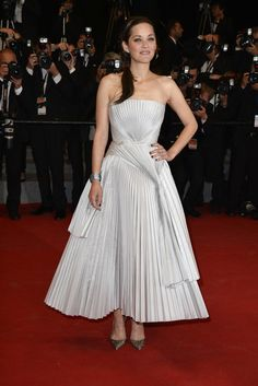 Marion Cotillard in a silver Christian Dior pleated dress, Louboutin pumps and a side braid with a hair headband at the 'L'Homme Qu'On Aimait Trop' Premieres at Cannes 2014.