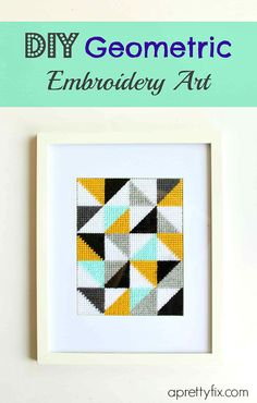 This DIY geometric embroidery art is a great project to do when you are looking to add fresh style, pops of colour, and personality to your space. It's a traditional craft with a modern twist!