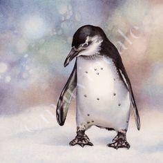 pensive penguin whimsical watercolour painting cori lee marvin