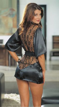 """Bold Series"" Exotic Black Lace Patchwork V Neck Short Sleeve Sexy Lingerie Sleepwear Dress"