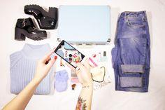 #fashion www.lorademode.com #jeans #shoes #jersey #blue #babyblue