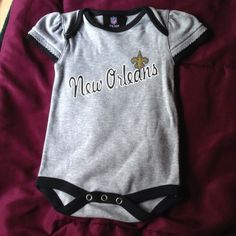 Last one!!!New Orleans Saints Baby clothes!!! Item up for bid is a New Orleans saints baby onesie. Brand new with out tags. This one is for a girl and for ages 0 to 3 months.   Thank you for looking. If you have any questions don't hesitate to email me. Other