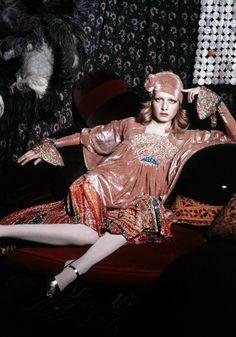 Twiggy / Biba / 1972 i really want a dress with shiney fabric like this